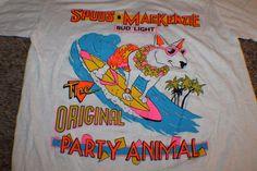 VTG ORG THIN 80s SPUDS MACKENZIE Bud Light T Shirt Deadstock Unused BUDWEISER M