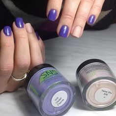 SNS #308 Violet Flame and #338 Twice Shy via @sns_nail_systems on Instagram