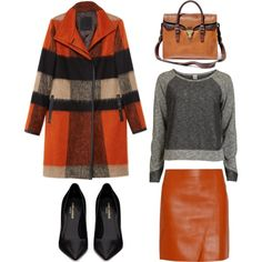 """Coat of the day: Orange-Grey Thursday!"" by helenevlacho on Polyvore"