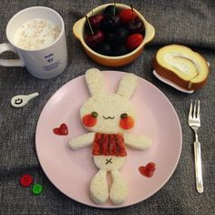 Cute rabbit breakfast by Sagnny (@sagnny)