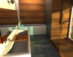 Salle de bains   #architecture #design #bathroom #france #3d #house #colibristudio