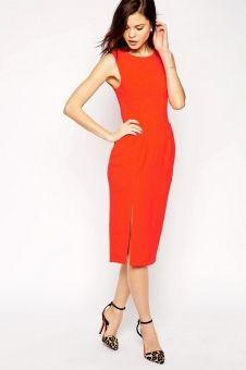 ASOS Sleeveless Midi Wiggle Dress in Crepe