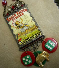 Soldered Glass Assemblage Charm Necklace Sells by Vintagearts