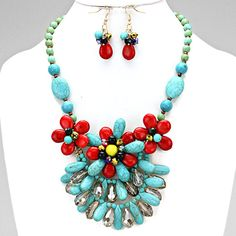 Women's   Tropical Floral Beaded Statement Necklace Turquoise