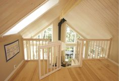Space saving staircase in solid wood. (Gate at top for Sean? Attic Craft Rooms, Attic Bedroom Small, Attic Loft, Attic Spaces, Space Saving Staircase, Stair Ladder, Tiny House Stairs, Small Attics, Attic Design