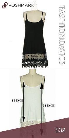 BLACK LACE TRIMMED CAMI DRESS EXTENDER S,M,L NWT BLACK LACE TRIMMED CAMI DRESS EXTENDER COMES IN SIZES S-M-L MATERIAL CONTENT: 95% RAYON / 5% SPANDEX Fashionomics Dresses