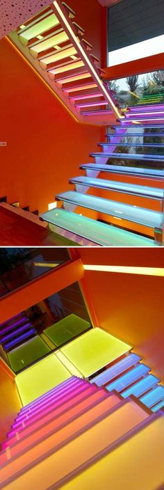 Rainbow staircase to game room and Rainbow Road (on Mario Kart).