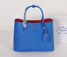 7c56ff0dd1 2014 Prada Women Handbag BN2756 Tote Bag Blue Ostrich Grain Original Leather