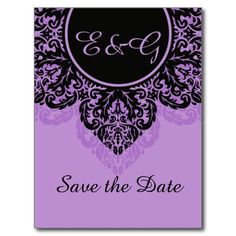 Black damask on lilac purple Save the Date Postcards