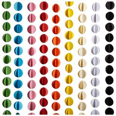 11 foot long Hanging Paper Circle Banner (Reg. $3.50 on sale for $1.75) White, pink, ivory, blue, yellow, green, orange, black and red. Also available in heart shape.