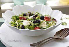 Red White & Blue Honey-Baked Goat Cheese Salad with blackberry lemon vinaigrette by Angela Roberts