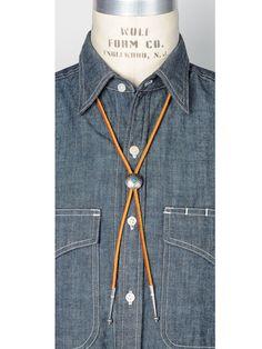 Yuketen Leather Bolo Tie with Concho