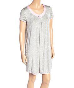Light Gray Floral Simply Me Sleepshirt - Women #zulily #zulilyfinds