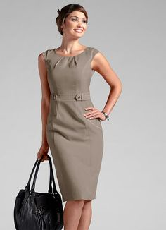 Plain neckline and sleeves Nice Dresses, Casual Dresses, Dresses For Work, Formal Dresses, Office Dresses For Women, Clothes For Women, Dress Outfits, Fashion Dresses, Elegant Outfit