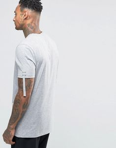 Image 2 ofASOS Longline T-Shirt With Ruched Sleeves In Grey Marl