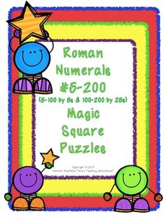 Roman Numerals #5-100 by 5s & 100-200 by 25s Magic Square Puzzles {3 puzzles} $