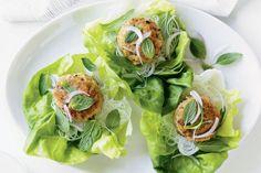 Thai chicken patties in lettuce cups