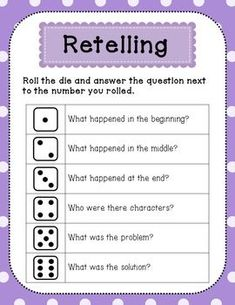 Reading Retelling Comprehension Questions (Roll-a-Retell) First Grade Reading Games, Kindergarten Reading, Teaching Reading, Reading Lessons, Reading Skills, Reading Strategies, Vocabulary Activities, Reading Activities, Vocabulary Strategies