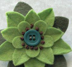 Christmas Felt Flower Pin Garnet Poinsettia by dorothydesigns