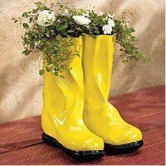 rain boot planter - Google Search