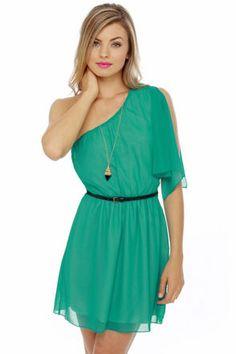 Dancing Queen One Shoulder Teal Dress at LuLus.com!  $42 great steal!