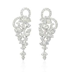 NEW: Diamond chandelier earrings featuring an elegant floral motif set with 10 pear-shaped and 102 round brilliant cut white diamonds 2.54ctw in 18k white gold