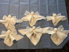 Christmas Angels, All Things Christmas, Christmas Tree Ornaments, Handkerchief Crafts, Diy Angels, Angel Ornaments, Handkerchiefs, Christmas Activities, Xmas Crafts