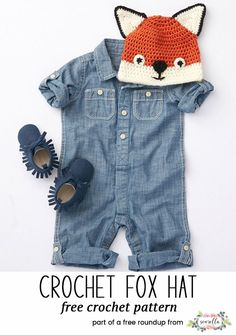 Crochet this cute fox hat beanie for kids from my baby playtime essentials free pattern roundup!