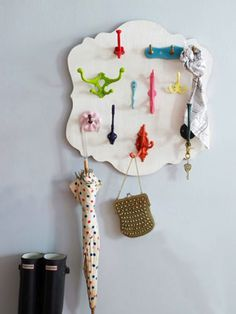 Organize with Colorful Hooks - Best of DIY at Centsational Girl