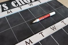 DIY Idea: Make a chalkboard chore chart for the kids to keep track of their weekly responsibilities.