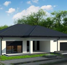 Modern Bungalow House, Modern House Design, One Storey House, Dream House Exterior, House Exteriors, Two Bedroom House, Bedroom Wall Designs, Concept Home, House Floor Plans