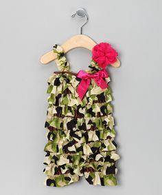 Green Camo Romper & Flower Clip - Infant & Toddler