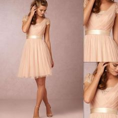 Bridesmaid dress 2016,Peach pink bridesmaid dresses,Short bridesmaid dress,