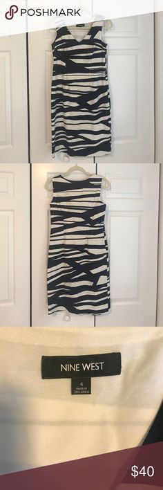 """Nine West Dress super cute navy and white dress - hits me right above the knee and I'm 5'10"""" and ½ Nine West Dresses"""