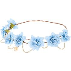 Blue Flowers and Golden Chain Hair Flower Crown ($35) ❤ liked on Polyvore featuring accessories, hair accessories, golden crown, floral crown, floral garland, flower crown and flower garland