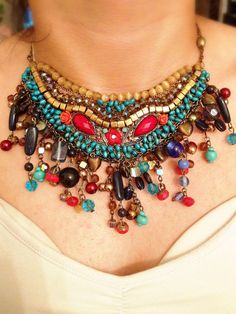 Statement turquoise Boho Chic  Necklace, very Unique!  red, gold and turquoise retro beads - Hand made brass chain on Etsy, 450.00₪