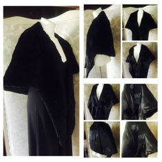 """Vintage Elegant Black Faux Fur Stole Wrap Cape This black faux fur wrap looks and feels so real it is absolutely hard to tell if it isn't! The inside has straps for your arms to keep stole in place. Inside lined in black silky fabric w blue butterflies stamped throughout!  Measures approx. 72"""" from end-to-end; 20-1/2"""" long in back; 29"""" shoulder to front bottom hem; 8"""" from collar to bottom arm hem. Fits most. In excellent pre-owned vintage condition (inside strap connections could use…"""
