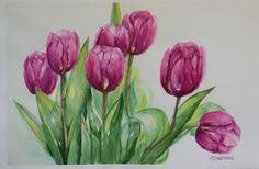 Tulips Original Watercolor Painting aquarelle still by PDisanska, $30.00