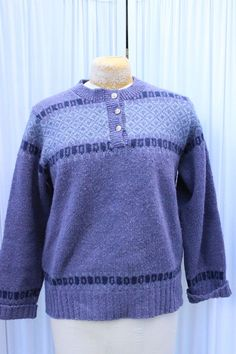 Pendleton 3 Pewter Button Purple Fair Isle Pullover Wool Large USA Sweater #Pendleton #Pullover