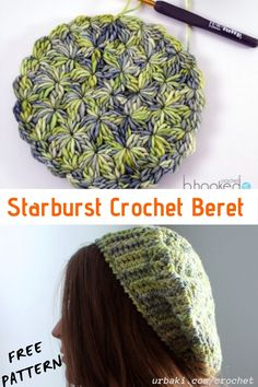 Crochet Beret Pattern, Knitted Beret, Crochet Patterns, Hat Patterns, Free Crochet, Crochet Hats, Crochet Winter, Beautiful Crochet, Crochet Flowers