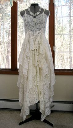 RESERVED FOR MARKS 1696 - Balance for Off White Ivory alternative bride tattered boho gypsy hippie wedding dress, recycled / vintage laces