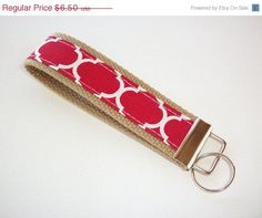 SALE  Key FOB / KeyChain / Wristlet   Tomato red brown by Laa766