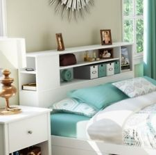 New White Wooden Bookcase Headboard For Double Size Bed Frame ~wood Modern~
