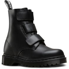 Dr. Martens Leather Coralia Boots (€130) ❤ liked on Polyvore featuring shoes, boots, black, black boots, goth boots, leather shoes, dr martens boots and strap boots