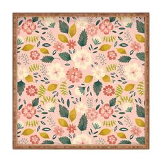 Pimlada Phuapradit Summer floral pink Square Tray | DENY Designs Home Accessories
