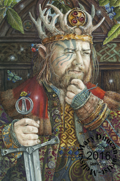 """Pig's Ear"" A watercolour by Melissa Mary Duncan... A word to the wise...This King of Elfland's nickname is Pig's Ear, but I would not call him that to his face if I were you"