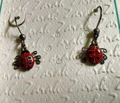 Zarah Earring Sterling Silver LadyBug Pierced Dangle Enamel lady Bug Artisan  #Zarah #PiercedDangle