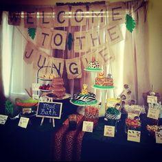 #jungle #babyshower #boybabyshower #candybar #junglecandybar #welcomtothejungle #summerbaby #animalprintcake