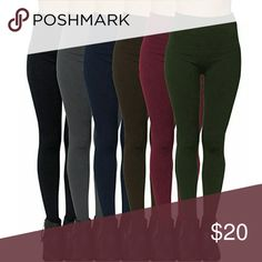 NWT Assorted Fleece Lined Seamless Leggings Super soft stretchy and comfortable leggings. Fit size S-L without being see through. 90% nylon, 10% spandex. Ultra soft material and fleece lining. Colors available are (1) cranberry  (2) navy (3) slate gray (4) olive (5) chocolate brown. Please state which color you would like in a comment! Feel free to make an offer. C.C. Boutique  Pants Leggings