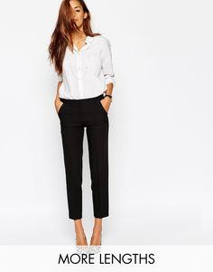 Image 1 of ASOS Ankle Grazer Cigarette Pant in Crepe
